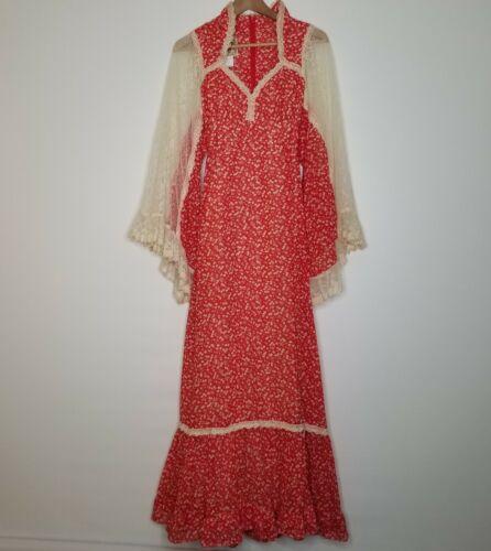 Vintage Gunne Sax Boho Prairie Maxi Cherry Angel Sleeves Lace Dress Size 11