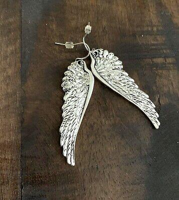 Angel Wing Earrings Shepherd Hook Oxidized Silver-tone Finish 2