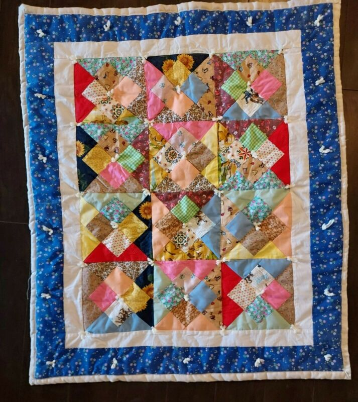 Project Linus Handtied Squares Custom Patchwork Lap Blanket Baby Quilt @ 32 x 38