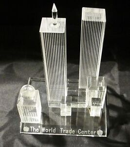 World Trade Center Statue Model Replica, Twin Towers, 9/11, NYC, Glass Crystal