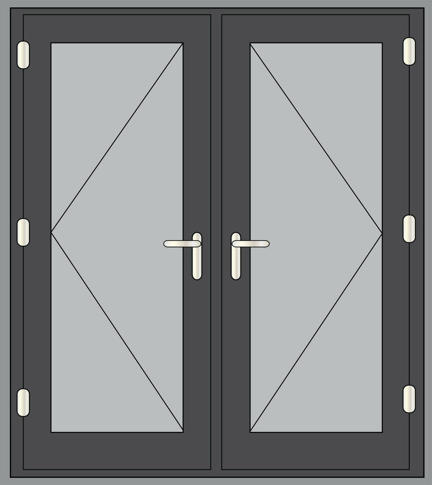 Grey upvc french doors made to measure chrome handles for Upvc french doors made to measure
