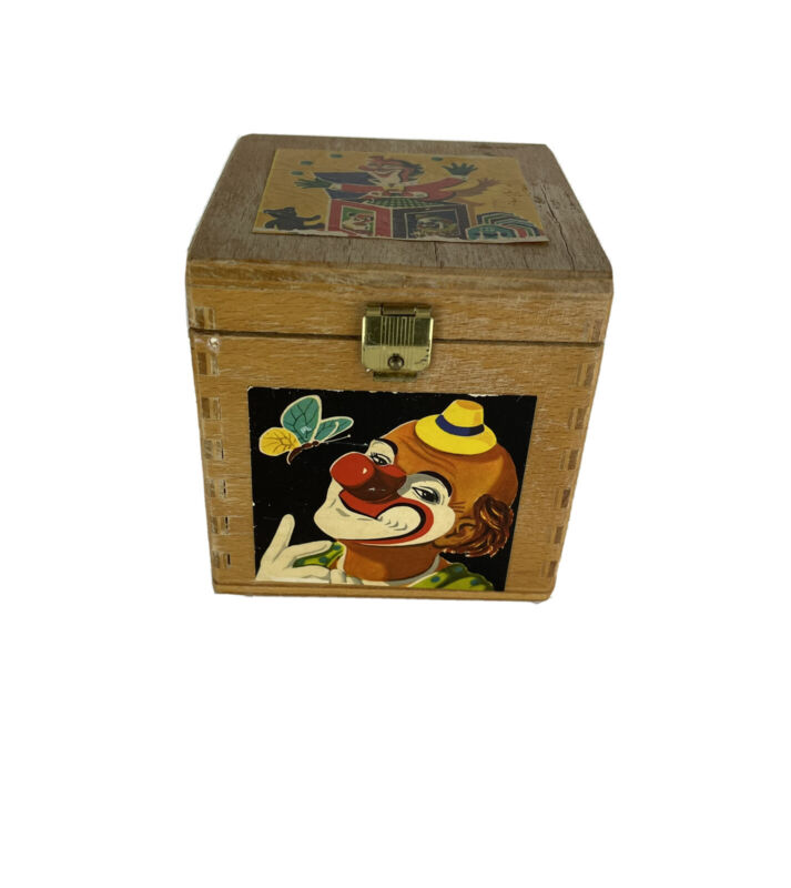 Vintage Eichhorn Made in Germany 1960s Jack in the Box Clown Wooden Box