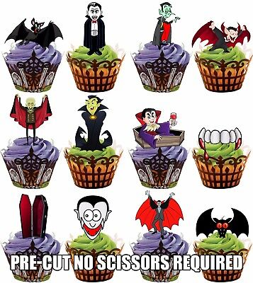 Pre Halloween (PRE-CUT Halloween Vampire Mix  - Edible Cupcake Toppers Party Cake Decorations)