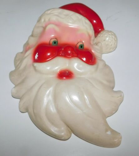 Vintage Chalkware Santa Claus Face Wall Hanging Chalk Ware
