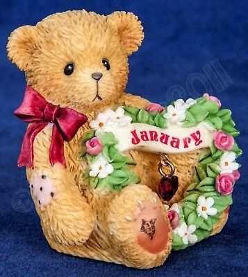 Cherished Teddies Sparkling Hearts Birthstone Bear #111882 - January NIB