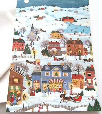 Vintage Christmas Card Old Fashioned Christmas Scenes Town Village Sleigh Houses ()