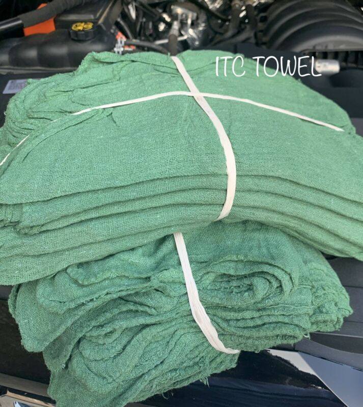 1000 New Industrial Commercial Green Shop Rags Towel 14x14