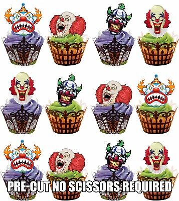 PRE-CUT Scary Clown Face Edible Cupcake Toppers Decorations Halloween Party - Halloween Cupcake Faces
