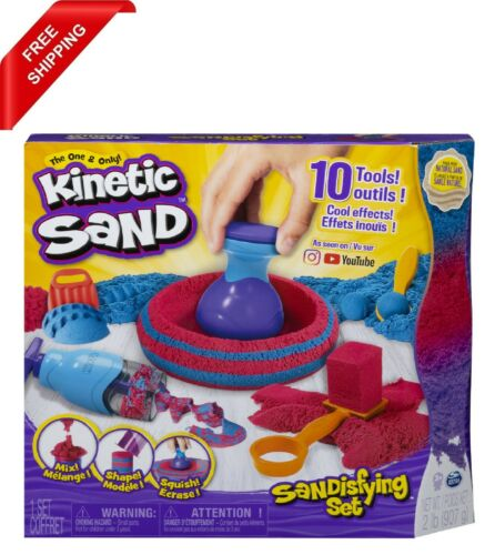 Kinetic Sand, Sandisfying Set with 2lbs of Sand and 10 Tools, for Kids Aged 3 an