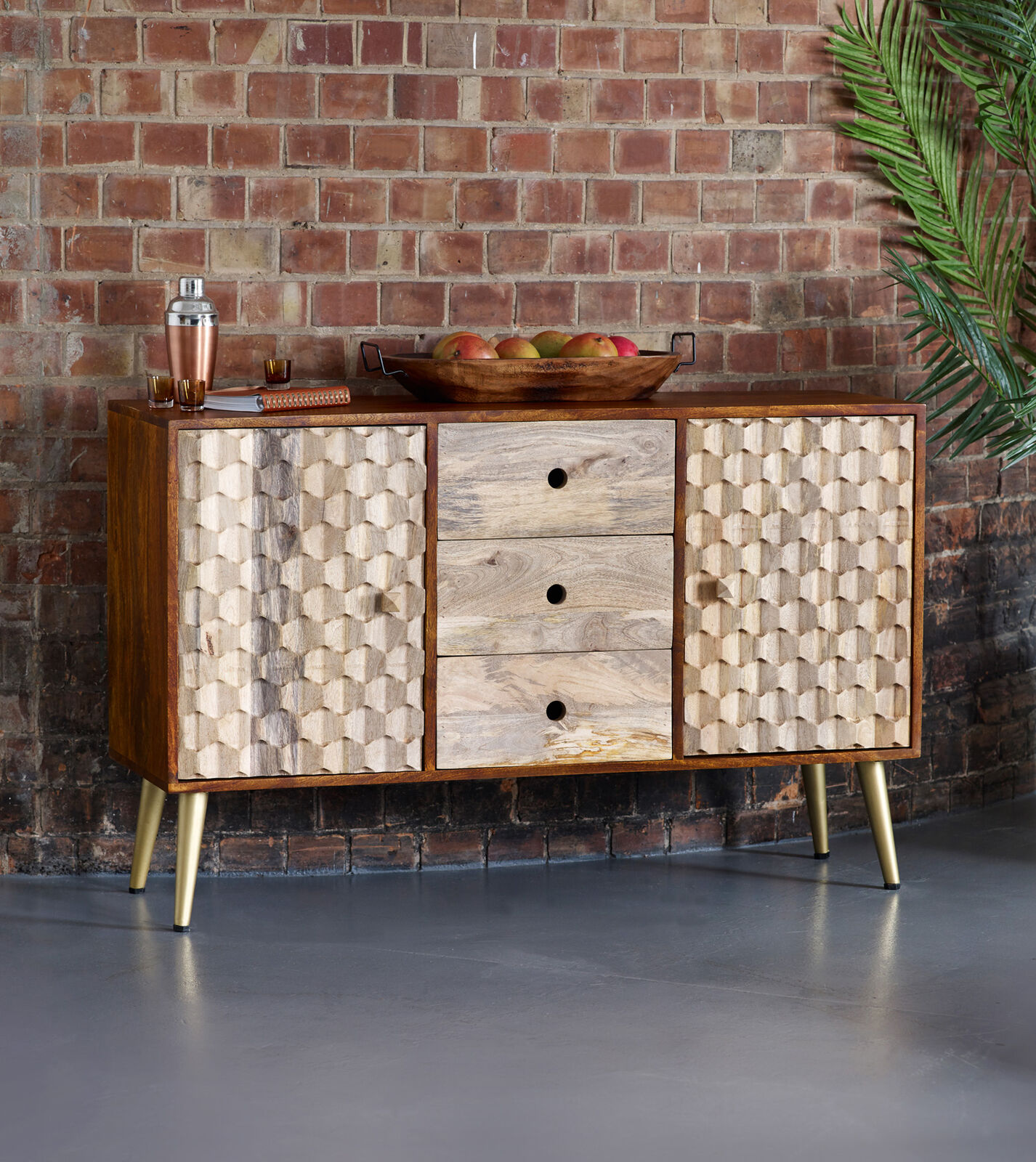 Details about Edison 2 Door Sideboard 3 Drawer Walnut Gold Solid Mango Wood Retro Scandi Style