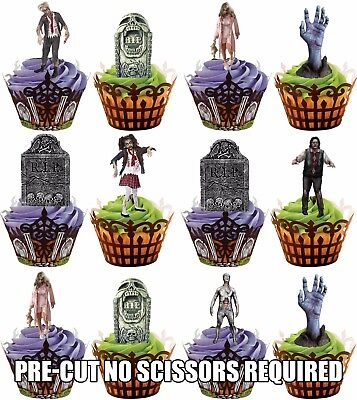 Zombie Cupcake (PRE-CUT Zombie & Tombstone Edible Cupcake Toppers Decorations Halloween Party)