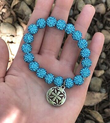 ***Rustic Cuff Turquoise Blue Crystal Stretch Bracelet