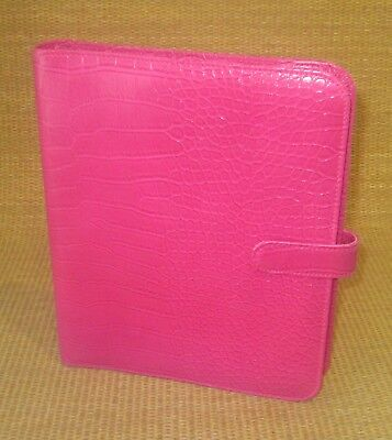 Classicdesk 1 Rings Pink Sim Croc Leather Cookie Leefranklin Plannerbinder