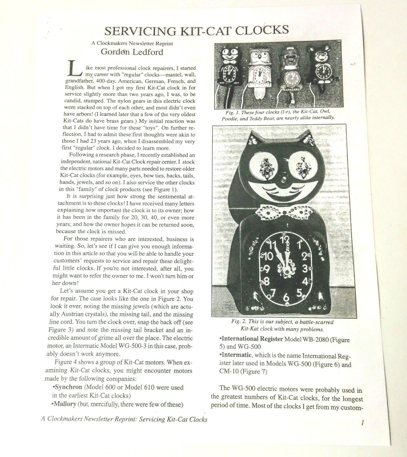 Original Electric Kit Kat Clock Repair Guide Reprint.