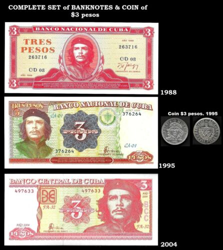SPECIAL Lots of Banknotes 3 pesos UNC & coin Che. Paper Money, Currency