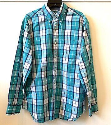 Nautica Men's Button Down Long Sleeve Shirt Plaid Green/Blue/White Size M