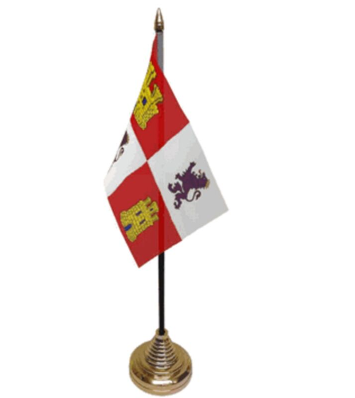 "CASTILE AND LEON DESKTOP TABLE FLAG 6""X4"" 15cm x 10cm flags SPAIN SPANISH"