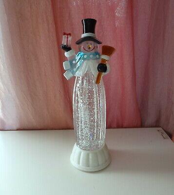 """Vtg Swirling Glitter LED Lava Light Christmas Snowman Water Snow Globe 12"""" Lamp"""