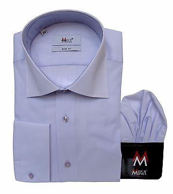 Slim-fit Hemd mit Einstecktuch Gr.XL Hellflieder