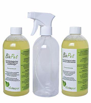 2 x Biolopur BioPet Geruchsentferner Konzentrat 500 ml plus leere Sprühflasche