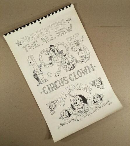 Rare 1985 CIRCUS CLOWN CALENDAR Published by Artist/Clown BRUCE L. WARNER 12 pgs