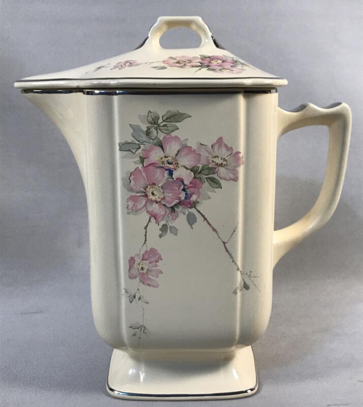 PV05446 Vintage Laughlin Wells Century BRIAR ROSE - Coffee Batter Pitcher & Lid
