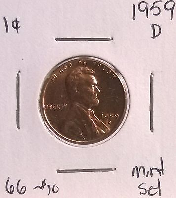 1959 D  LINCOLN CENT  PENNY  BU  UNCIRCULATED  FROM MINT SET  405