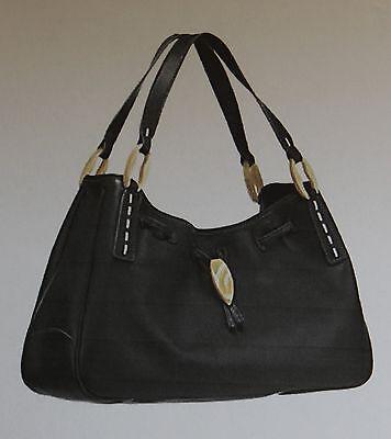 Tod's Black Ispirazione Capri Tote Purse Handbag w/White Contrast Stitching