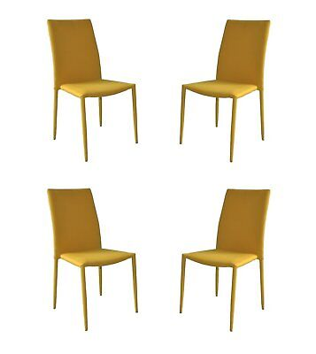 Set of 4 Modern and Sleek Fabric Accent Side Chairs / Dining Room Chairs, Yellow ()