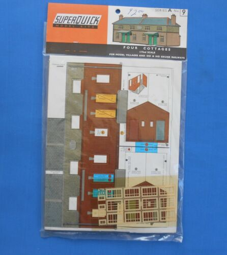 Superquick OO/HO Gauge Railway 4 cottages Series A No 9 Kit Vintage New putz