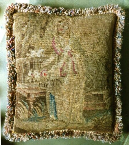 Antique 18th Century French Aubusson Tapestry Boudoir Cushion / Pillow.