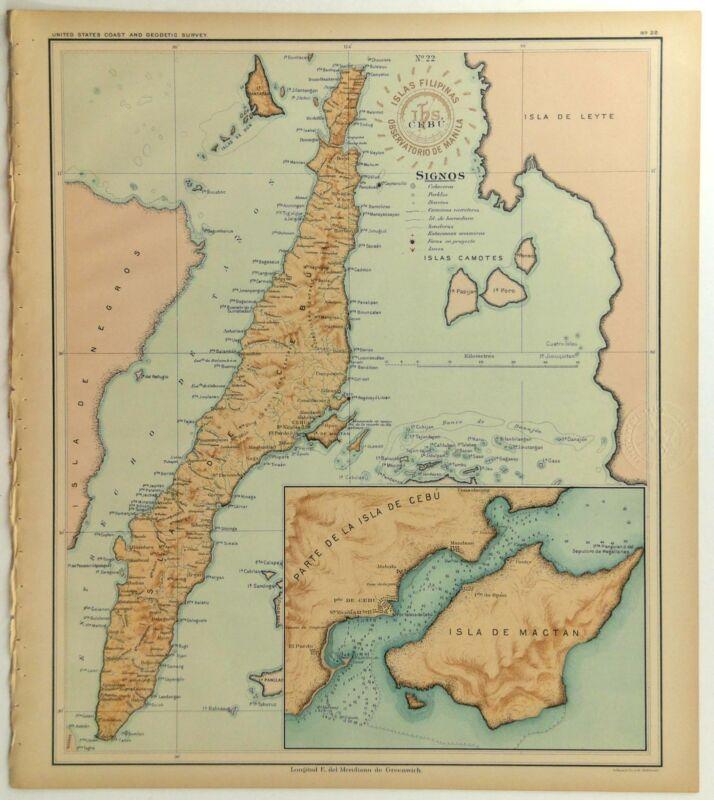 1899 Official US Navy Map Philippine Islands Isla Cebu Mactan Camotes Bantayan
