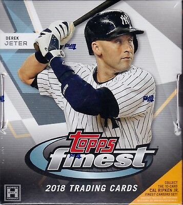 2018 Topps Finest Baseball sealed hobby master box 12 packs 5 MLB cards 2 auto