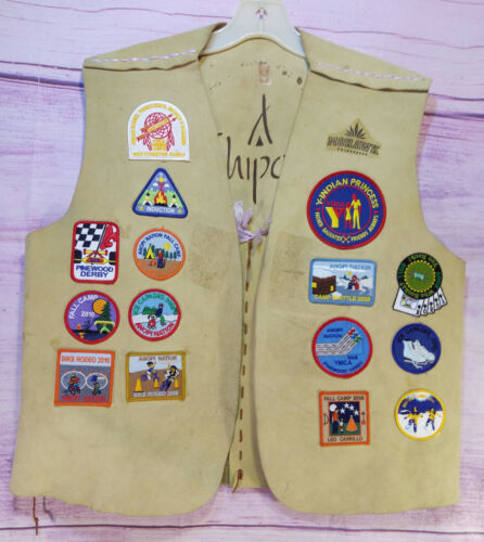 Leather Vest 28 Patches Anopi Nation YMCA Indian Princess Camp Mohawk California