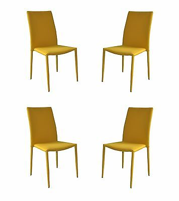 Set of 4 Piece Modern and Sleek Fabric Dining Room Chairs, Accent Chairs- Yellow ()