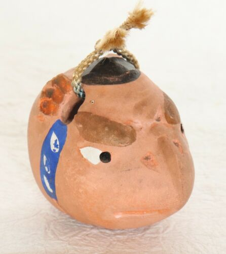 "Japanese Clay Bell Karasu Tengu Dorei Handmade H4.5 cm 1.77"" Vintage"