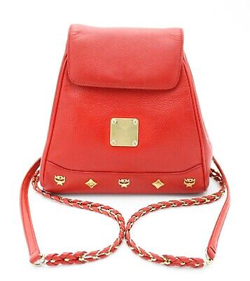 Auth MCM Red Leather Chain Small Backpack