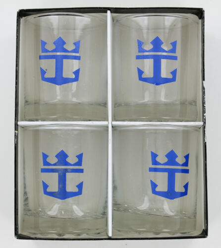 Vintage Royal Caribbean Cruise Line Low Ball Cocktail Glasses - Set of 4 in Box