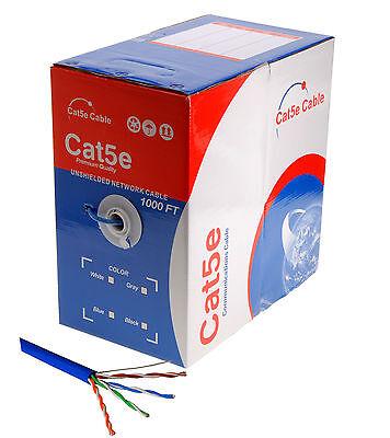 (SatMaximum 1000ft Cat5e Solid Cable UTP Cat5 Ethernet Bulk Network Wire - Blue)