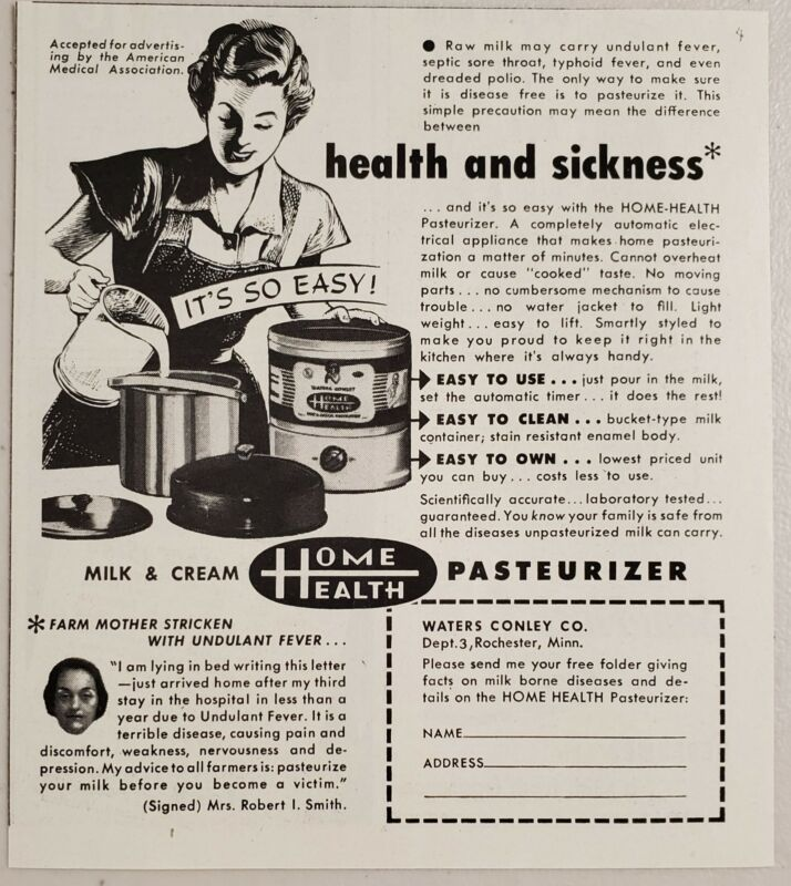 1951 Print Ad Home Health Pasteurizer for Milk Cream Waters Conley Rochester,MN