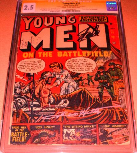 Young Men #14 CGC SS SIGNED Stan Lee Russ Heath Atlas 1952 Marvel Pre-Code War