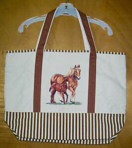 BELGIAN-DRAFT-MARE-amp-FOAL-100-Cotton-Canvas-heavy-duty-X-Large-TOTE-BAG