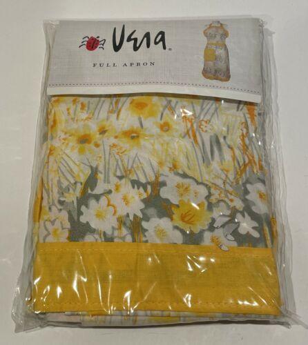 VINTAGE VERA NEUMANN FULL APRON YELLOW FLOWERS FLORAL 100% COTTON NIP