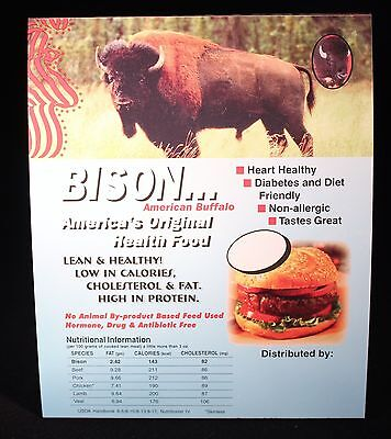 (Bison Buffalo Meat Nutritional Information Restaurant Table Card Pack of 25)