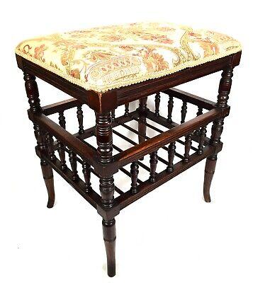 Edwardian Antique Wooden Oak Piano / Music Chair / Stool / Seat / Bench