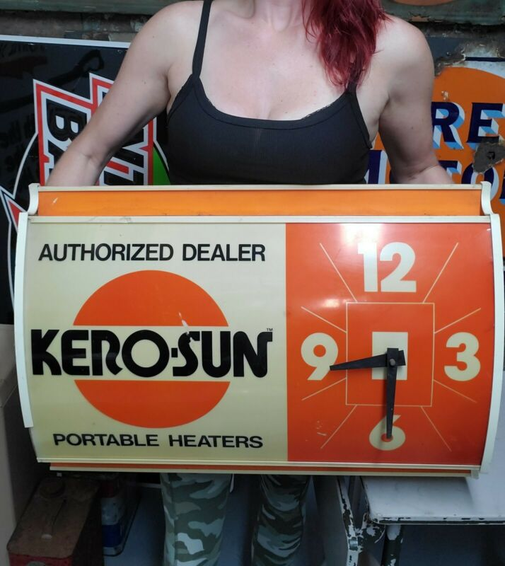 Vintage Rare KERO-SUN Heaters Dealer Advertising Lighted Working Clock Sign