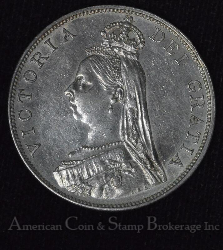 Great Britain Double Florin 1887 AU silver KM#763 2F Queen Victoria Arabic 1