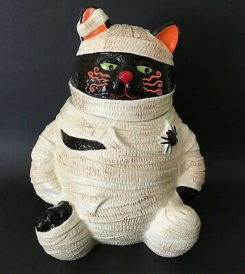 Rare HTF Cracker Barrel Halloween Cookie Jar Black Cat Mummy Too Cute To Spook