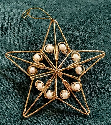 Geometric Star Christmas Ornament - Gold Glitter Wire and Pearl-Like Beads @ 5