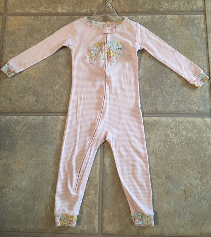 Carter's Girl's Size 3T Light Pink ' White Striped Pajamas With Pastel Elephant